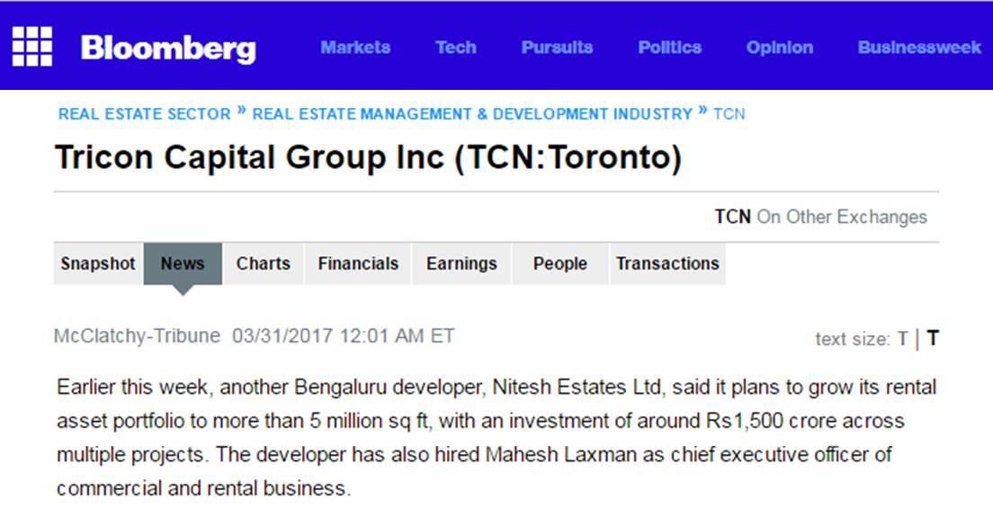 Bloomberg about Nitesh Estates