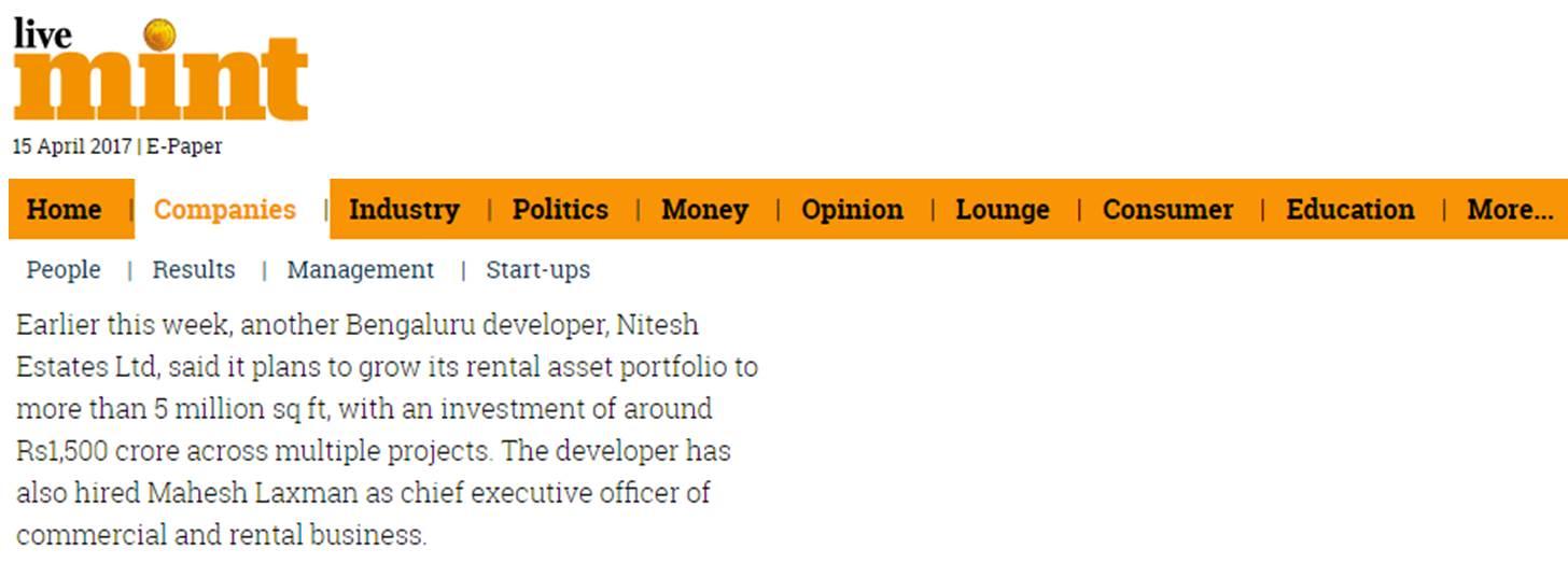 Livemint about Nitesh Estates